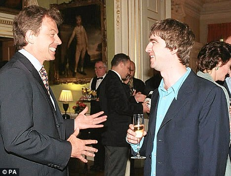 Prime Minister Tony Blair held a reception at No.10 Downing Street among the guests at the party were Oasis star Noel Gallagher